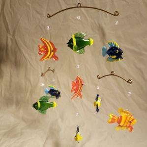 Vintage Hand made Glass Fish Mobile